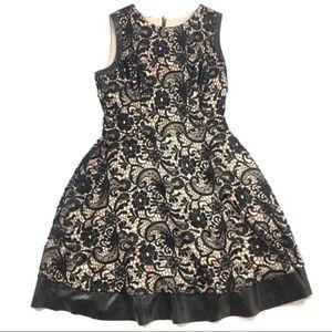 Jessica Simpson Black Nude Lace Leather Dress